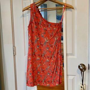 Pink silk dress w/ bird print French Connection 0